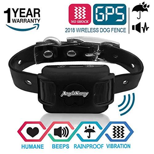 AngelaKerry Drahtloser Hundezaun Enthalten System für 850YD Fernbedienung Reichweite, mit GPS Halsband, Vibration & Ton (Schwarz)