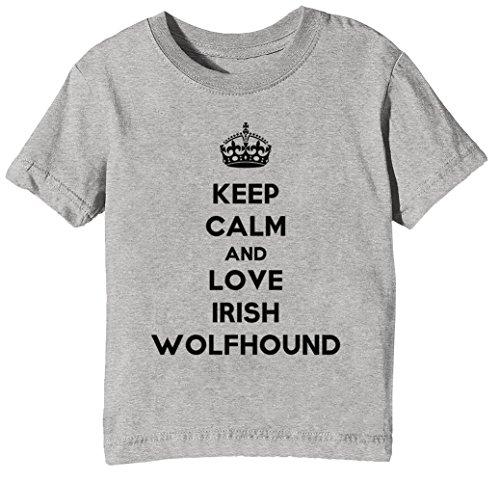 Keep Calm and Love Irish Wolfhound Kinder Unisex Jungen Mädchen T-Shirt Rundhals Grau Kurzarm Größe L Kids Boys Girls Grey Large Size L (Love Boys-t-shirts Irish)