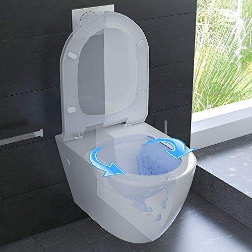 Keramik Wand WC Spülrandlos Hänge WC mit Nanobeschichtung Toilette WC-Sitz aus Duroplast mit Softclose Absenkautomatik passend zu GEBERIT Weiß WC - 2
