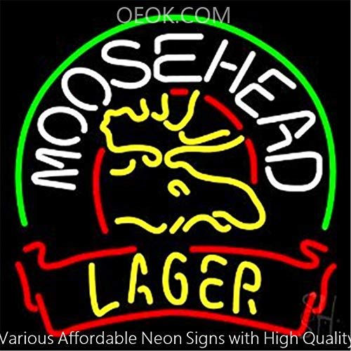 OEOK Moosehead Larger Beer Real Glass Neon Sign Beer Bar Pub Light Handmade  Virtual Artwork Room Wall Home Decor