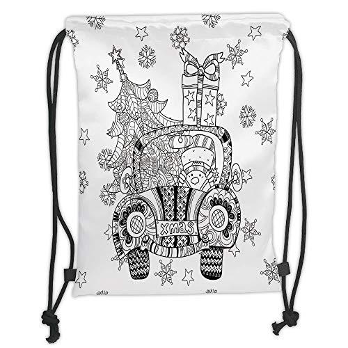 Fashion Printed Drawstring Backpacks Bags,Christmas,Abstract Car with Big Tree Ornaments Gift Box Stars Snowflakes Artsy Print,Black and White Soft Satin,5 Liter Capacity,Adjustable String Closure