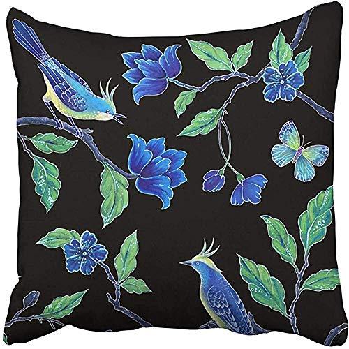 FPDecor Dekorativ Kissenbezug, Square 18x18 Inches Bird Songbirds Butterfly Asian Flowers Leaves Exotic Nature Clip Oriental Floral Design Black Polyester Decor Hidden Zipper Print On Pillowcases