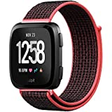 Inteny Fitbit Versa Bands For Women Men, Nylon Sport Loop With Hook And Loop Fastener Adjustable Closure Wrist Strap Compatible For Fitbit Versa Fitness Smart Watch,red Black