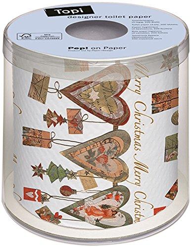 Diseño corazones Navidad papel WC Navidad TOPI funda