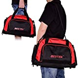 Sporttasche BESTEK Fitness Sporttasche mit Separater Tasche für Schuhe, Basketball, Fußball, Ideal für Ausgehen, Ausflug und Sport, Schwarz/Rot