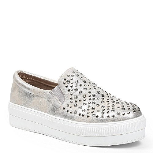 Ideal Shoes Slip-on effetto glitter e intarsiato di strass e chiodi Dara Argento