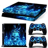 PS4 Controller Full Skin Sticker Faceplates for PS4 console x 1 and controller x 2 (PS4-blue)