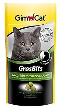 GimCat GrasBits - Friandises pour chat, à base d'herbe à chat - Sans sucre ajouté - Riche en fibres et en vitamines - Sachet de 40 g