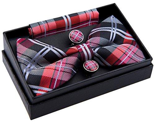 Elegante tejido tartán de cuadros escoceses PRE-TIED BOW TIE (5') W/bolsillo cuadrado & gemelos Set de regalo Negro negro/rojo Talla única