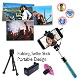 COOLNUT® Selfie Stick, Best Combo Gift Extendable Wired Selfie Handheld Stick With Adjustable Phone Holder And Bluetooth Wireless Remote Shutter For