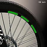 Motoking Fahrrad-Reflektorenaufkleber mit Waben-Reflex-Optik - Grün - 22 Aufkleber im Set - Breite: 10 mm - reflektierende Felgenaufkleber für Mountainbike-, Fahrradfelgen & mehr