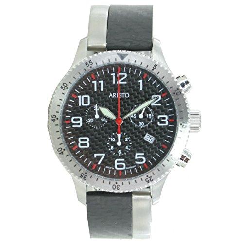 Aristo Reloj de hombre cronógrafo Carbono Acero Inoxidable Trophy Pasador 7h106r