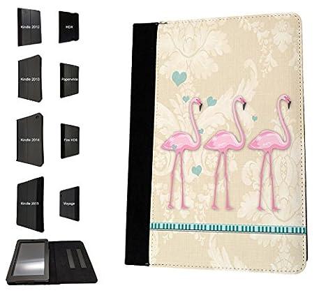 003220 - Flamingos floral pattern Design Amazon Kindle Paperwhite 6'' 2014/2016 Models Book Style Coque Purse Wallet Pouch portefeuille Poche Flip Coque Flip Case Coque
