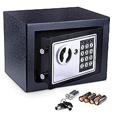 La mini cassaforte elettronica consente di riporre gli oggetti personali in modo sicuro    Specifiche  Costruito in acciaio inossidabile cromato spesso, resistente, sistema a bullone d'acciaio a doppio bullone (non solo chiusura a scatto);  Programma...