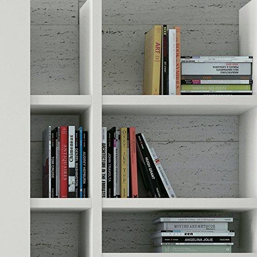 Wohnwand Bücherregal CD DVD Regal TOLEO238 weiß lackiert, LED - 3