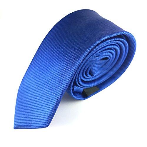MASSI MORINO Krawatte Slim-Fit, handgenäht aus Mikrofaser in verschiedenen Farben - schmale Herrenkrawatte, Skinny & Silk Ties (Blau Unifarben) (Blaue Skinny Tie)
