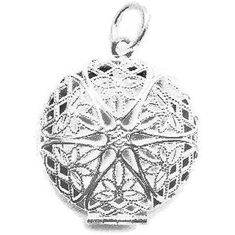 Ronda de filigrana Colgante Locket - plata de ley 925 chapado - estilo Tiffany - Funda de diseño