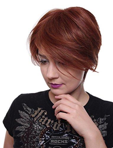 Prettyland C142 - cheveux courts perruque tons rouges et oranges strié coupe en couches