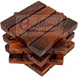Craftland Wooden Coasters For Hot/Cold Drink, Decorative Coaster Set For Dining/Tea/Coffee Table.(Set Of 4)