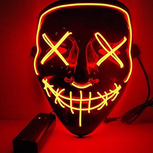 Kaliwa maschera led halloween maschera - divertente maschere con 3 modalità flash illuminano al buio per halloween carnevale festa costume cosplay decorazione (red)