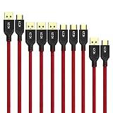 ICZI cable USB C vers USB 3.0 [5 Pack: 1 x 1.8m, 3 x 1m, 1 x 0.3m] Nylon Tressé , câble usb type c avec connecteurs plaqués or pour Samsung Galaxy S8 / Note8 , MacBook Pro, Nexus 5X / 6P, Huawei P10 / Mate 9 / Honor 8 / Honor 9, LG G5 / G6, One Plus 5 / 3T / (Noir / Rouge)