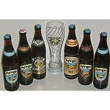 Ayinger Biervielfalt Set 6x0,5 Liter mit gratis Weißbier Glas