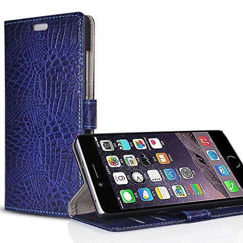 UKDANDANWEI Apple iPhone 6S Plus / 6 Plus Etui en PU - Style de Crocodile Coque Case Etui en Cuir Portefeuille pour Apple iPhone 6S Plus / 6 Plus - Vert Bleu