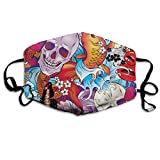 WBinHua Masken für Erwachsene, Mouth Mask, Breathable Mask Anti Dust, Colorful Skull Flowers and...