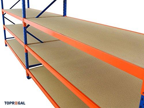 Lagerregal Schwerlastregal 6,9m breit, 2m hoch, 80cm tief, 4 Ebenen mit Holzböden – Weitspannregal Industrieregal - 2
