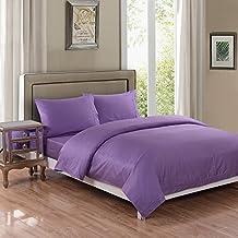 GC de ropa de 3piezas de percal polialgodón teñida en colores lisos LILA edredón de funda de edredón juego de cama tamaño King | Juego de cama con par de fundas de almohada