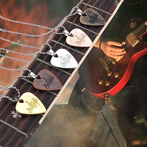 creatspaceDE Personalisierte Plektrum Halskette Zinklegierung Anhänger Halsketten Kreatives Design für E-Gitarre Schmuck Farbe: zufällig