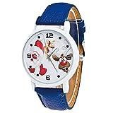 Junjie Dame Uhr Armbanduhr Männer Herren Fitness Frauen Tischuhr Smartwatch wasserdicht Schön und zart Geschenk-Dame-Glasspiegel-Weihnachtsmann-Rotwild Edelstahl Armband Sport Leather Freizeit