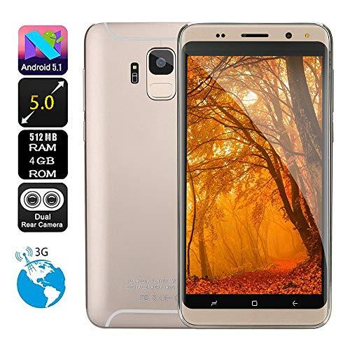 Smartphone,Colorful 5.0 Zoll Dual HD Kamera Reachable MT6580 Quad Nub Android 5.1 IPS-Vollbild GSM/WCDMA 512MB+4GB Touchscreen WiFi Bluetooth GPS 3G Phone (Gold)
