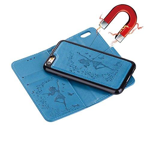 EKINHUI Case Cover Abnehmbare 2 in 1 Crazy Horse Texture PU Ledertasche, Fairy Girl Embossed Pattern Flip Stand Case Tasche mit Lanyard & Card Cash Slots für iPhone 7 ( Color : Black ) Blue