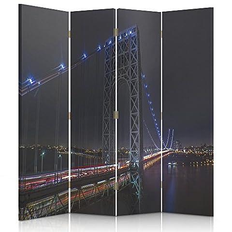 Feeby Frames, Paravent Intérieur, Paravent toile, Paravent déco, Cloison de séparation, Paravent 1 face, 4 panneaux (145x180 cm) PONT, GEORGE WASHINGTON BRIDGE, NEW YORK, NUIT, COULEURS, BLEU