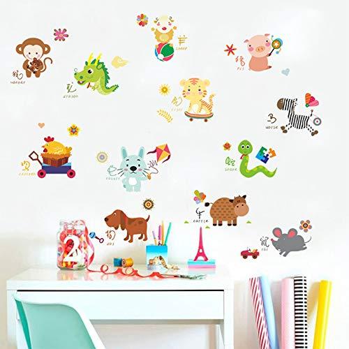 Ewqhd cinesi segni zodiacali interruttore wall stickers per i bambini locali camera per la casa degli animali del fumetto parete fai da te poster pvc murale decalcomanie di arte