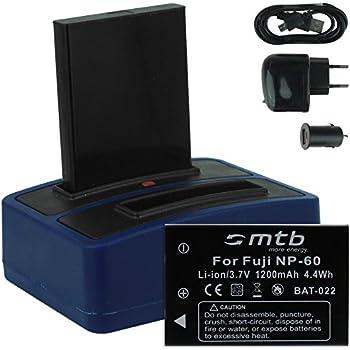 2x Batterie + Double Chargeur (USB/Auto/Secteur) pour Drift HD (1080p), HD170 (Stealth), HD720 / Toshiba Camileo H20 ... / Ricoh Caplio RR10 uvm... v. liste