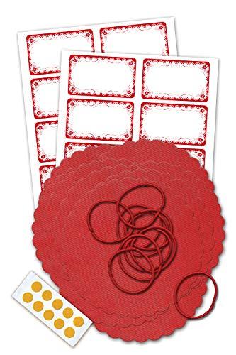 Marmeladendeckchen-Set inklusive 10 roten Vliesdeckchen 135 mm, 10 Schlaufen, 10 Doppelklebepunkten und 20 Etiketten mit Rüschen -