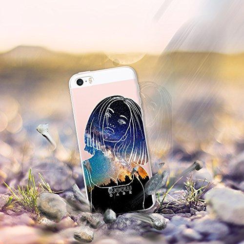 iPhone SE iPhone 5 5S Hülle, WoowCase® [ Hybrid ] Handyhülle PC + Silikon für [ iPhone SE iPhone 5 5S ] Wolf-Fußabdruck Sammlung Tierentwürfe Handytasche Handy Cover Case Schutzhülle - Transparent Hybrid Hülle iPhone SE iPhone 5 5S H0017