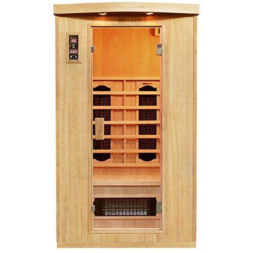 Artsauna Infrarotkabine Halmstad mit Keramikstrahler | 2 Personen Kabine aus Hemlock Holz | 110 x 100 cm | Infrarotsauna Infrarot Wärmekabine -