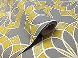 Geometric Wallpaper Modern Glitter Embossed Bold Funky Grey Yellow White Rasch