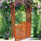 Melko Rosenbogen Torbogen aus Holz mit Tür, 120 x 60 x 206 cm, extra breit und groß, halb-rund, braun – ideale Rankhilfe, Pergola für den Garten