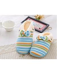 Las mujeres interior impermeable antideslizantes pantuflas tejer algodón zapatillas zapatillas de piso , blue , 38-39