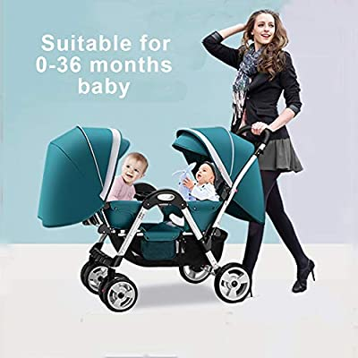 JIE KE Doble Cochecito de bebé Desmontable Ligera Amortiguador bebé Pueda Sentarse Mentira Doble Cochecito Plegable de Neumáticos Cochecito (Color : Green)