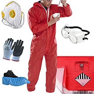 THE CHEMICAL HUT® Red Asbestos Removal Pack - Asbestos Bags (x10 Red + x10 Clear), Medium Red Coverall, Medium Gloves, Safety Goggles, Disposable Overshoes - Comes with THE CHEMICAL HUT® Anti-Bac Pen