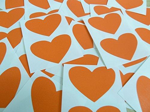50x37mm Naranja Oscuro Con Forma De Corazón Etiquetas, 40 auta-Adhesivo Código De Color Adhesivos, adhesivo Corazones para Manualidades y Decoración