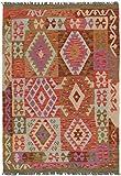 Nain Trading Kelim Afghan 151x104 Orientteppich Teppich Grau/Rot Handgewebt Afghanistan