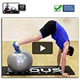 Fitness Yoga Core Stabilität Gymnastikball 65cm Anti Burst mit 60 Min von professionellen Online Video-Workouts & Pumpe -