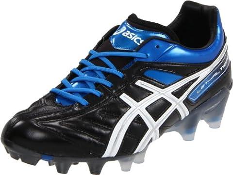 Asics P104L Men's LETHAL TIGREOR 4 IT Soccer Shoes, Black/White/Pacific Blue, 10.5 UK
