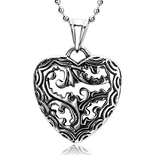 BeyDoDo Schmuck Herren Edelstahl Halskette Silber Schwarz Hohl Herz Anhänger Kette, (Kostüme Titanic Paar)